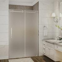 """Moselle Completely Frameless Sliding Shower Door, Frosted, Stainless, 48""""x75"""""""