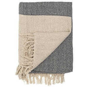 Bloomingville Cotton Throw, Natural and Grey
