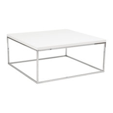 Euro Style Teresa Square Coffee Table In White Coffee Tables