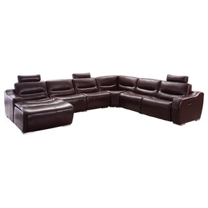 Incredible Elda Brown Recliner Sectional Contemporary Sectional Pabps2019 Chair Design Images Pabps2019Com