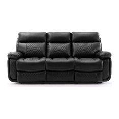RN Furnishings Samara Reclining Faux Leather Sofa - Black
