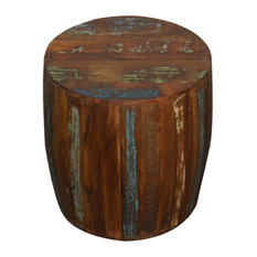 Reclaimed Wood Rustic Drum Barrel Stool
