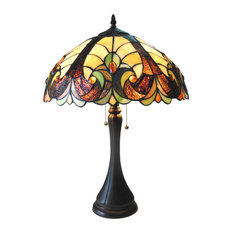 "Chloe Lighting Amor Stained Glass 2 Light Victorian Table Lamp 16"" Shade"