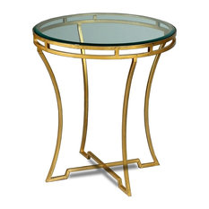 22-inch H Cinzia Set Of Two Side Table Iron Glass Antique Gold Finish