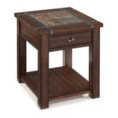 Magnussen.com   Magnussen Roanoke Wood End Table, Cherry And Slate   Side  Tables