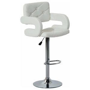 Modern Stylish Bar Stool Upholstered, Faux Leather With Back, Arm and Footrest