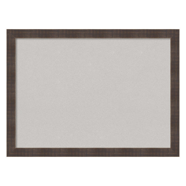 Framed Gray Cork Board Large, Whiskey Brown Rustic, Outer Size 31x23