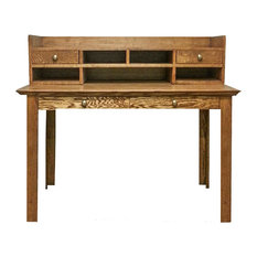 Traditional Writing Table and Mini Hutch, Black Oak