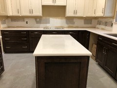 Silestone Eternal Marfil 3 Cm Quartz Countertops Installed Yesterday On Deerfield Shaker Ii Pecan Base Cabinets Sink Is Blanco 441765 Diamond Super Single