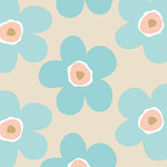 Finesse Deco Partners - Lola Big Flower Island PVC Tablecloth, 140x140 cm - The non-woven, easy-to-use oilcloths in the Lola collection offer tables a fresh image. This 140-by-140-centimetre tablecloth features a large flower design in beige and turquoise for a touch of 1960s charm. Phthalate-free, it can be wiped down after use. Finesse is an experienced manufacturer and wholesaler dedicated to washable table linen, amongst other household goods.