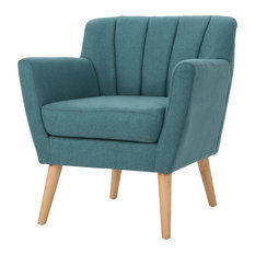 GDFStudio - Madelyn Mid Century Modern Fabric Club Chair, Dark Teal - Armchairs and Accent Chairs