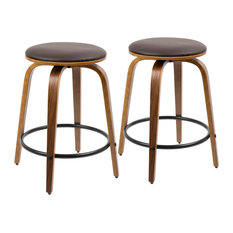 LumiSource Porto Swivel Counter Stools, Walnut and Brown, Set of 2