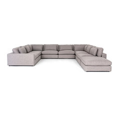 Berezi 8-Piece Sectional with Ottoman, Pewter Grey