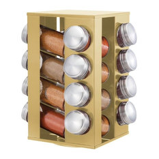 Rotating Stainless Steel Spice Rack With 16 Glass Jars, Gold