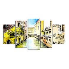"""Canal Venice"" Cityscape Canvas Artwork, 60""x32"""
