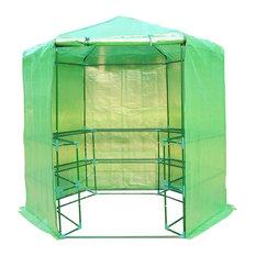 Portable 3-Tier Shelf Hexagonal Walk in Greenhouse, 7.5'