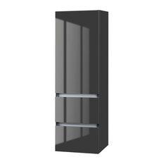 """Cutler Lava Grey 15"""" Wall Hung Gloss Linen Tower 1 Door 2 Drawer"""