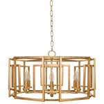 Worlds Away - Square Motif Drum Chand With 6 Arm Light, Gold Leaf - Square motif drum chandelier with 6 arm light cluster in gold leaf.  Uses (6) E12 Candelabra Base 40 Watt Bulbs