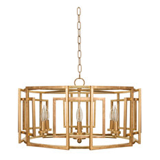 Square Motif Drum Chand With 6 Arm Light, Gold Leaf