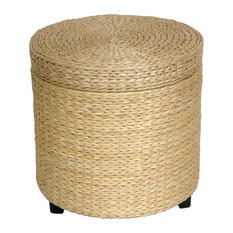 Rush Grass Storage Footstool, Natural