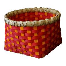 Small Hand Woven Basket, Cherry Red and Sunshine Orange