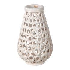 Privilege International Beige Cut-Out Ceramic Vase, Small