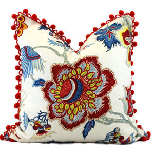 Floral Cotton Pillow Cover With Cotton Ball Fringe