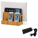 Great Useful Stuff - Bamboo Multi-Device Charging Station and Dock, With USB Power Strip - The Bamboo Multi-Device Charging Station & Dock is the perfect desktop accessory for your tech organization problems. There's room to store a laptop, tablet and up to three other mobile devices like smartphones, cell phones or portable gaming devices. The bottom of the charging station has a magnetic base that flips open to reveal a hidden storage area for organizing the wires that would otherwise clutter your desk space. The built in elastic straps keep everything tidy and in its right place. The attractive 100% bamboo finish looks great with almost any home or office decor.