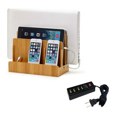 Bamboo Multi-Device Charging Station and Dock, With USB Power Strip