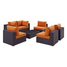 Modern Contemporary Outdoor Patio 7-Piece Sectional Sofa Set, Orange, Rattan