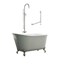 "58"" Swedish Bathtub & Complete Modern Freestanding Faucet Plumbing Package CH"