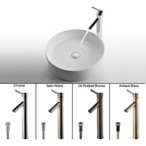 Kraus White Round Ceramic Sink and Sheven Faucet Satin Nickel