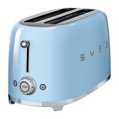 Smeg Retro 50's 4-Slice Toaster With 2 Large Slots, Blue