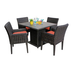 Venice Square Dining Table With 4 Chairs, Tangerine