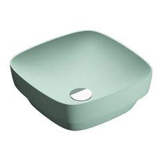 "Catalano 140AGRLXVS Colori 15.75""x15.75"" Fireclay Washbasin, Satin Green"