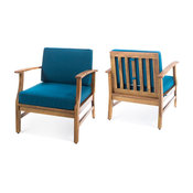 GDF Studio Pearl Outdoor Teak Acacia Wood Club Chairs With Cushion