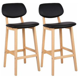 Set of 2 Bar Stool Upholstered, Faux Leather With Backrest and Footrest, Black