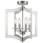 Z-LITE - Z-LITE 6008SFC-BN 4-Light Semi-Flush Mount - Z-LITE 6008SFC-BN 4 Light Semi Flush Mount, Brushed NickelTall candles set upon crystal candle plates are framed within the emblematic lines of the Zander collection. Finishes include Brushed Nickel or Bronze. The Bronze model comes with both Bronze and Gold candle sleeves which can be changed to suit your personal taste. Multiple sizes, sectional rods and multiple finishes make the Zander collection very versatile. Collection: ZanderFrame Finish: Brushed NickelFrame Material: SteelDimension(in): 14.8(L) x 14.8(W) x 16.5(H)Bulb: (4)60W Candelabra base,Dimmable(Not Included)UL Classification/Application: CUL/cETLu/Dry