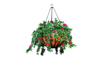 22-inch Hanging Basket with 5 Artificial Plants