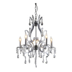 Warehouse of Tiffany Form Crystal 5 Light Chrome Chandelier