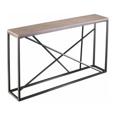 Modern Console Table Powder-Coated Iron Linework Narrow Design Gray