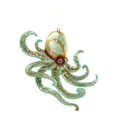 "C & F Home - Seafoam Green Octopus Capiz Shell Christmas Holiday Ornament 6"" - Christmas Ornaments"
