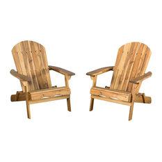 Denise Austin Home Milan Outdoor Folding Adirondack Chair, Brown, Set of 2