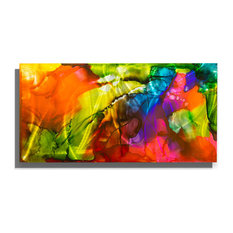 "Colorful Abstract Metal Painting, ""Gusto"" by Jon Allen, 36""x18"""