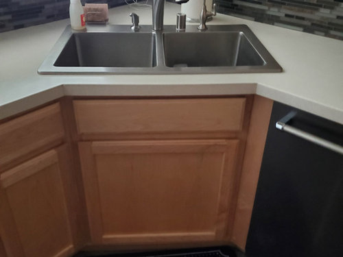 Corner Kitchen Sink Cabinet With Narrow Opening