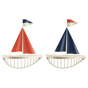 Sailboat Wall Shelves, Set of 2, Red and Blue