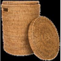 Artifacts Rattan™ Round Hamper With Lid, Honey Brown