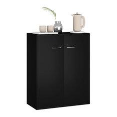 VidaXL Sideboard Modern Black Chipboard Storage Cabinet Side Chest Lowboard