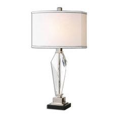 Geometric Cut Crystal Prism Table Lamp, Elegant White