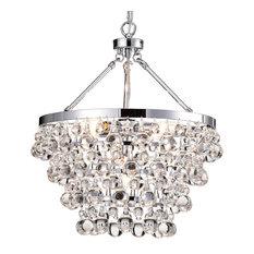 Clarus 5-Light Chrome Four Tier Crystal Chandelier Ceiling Fixture Glam Lighting